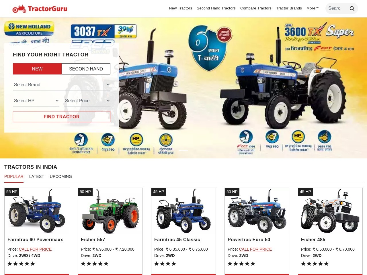 Used tractor selling price in India