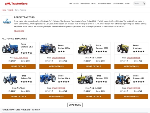 Force Tractors- Price and Specification in India