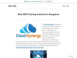 Best AWS Training Institute In Bangalore