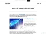 Best CCNA training institute in India