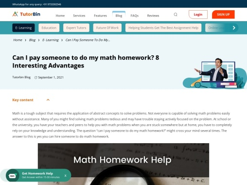Can I Pay Someone To Do My Math Homework?