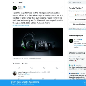 https://twitter.com/Razer/status/1318567659508649984?ref_src=twsrc%5Etfw%7Ctwcamp%5Etweetembed%7Ctwterm%5E1318567659508649984%7Ctwgr%5Eshare_3%2Ccontainerclick_1&ref_url=https%3A%2F%2Fwww.windowscentral.com%2Frazer-announces-their-xbox-one-accessories-are-forward-compatible-xbox-series-x-and-xbox-series-s