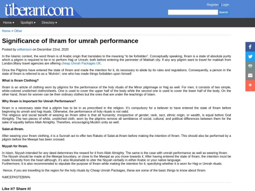 Significance of Ihram for umrah performance