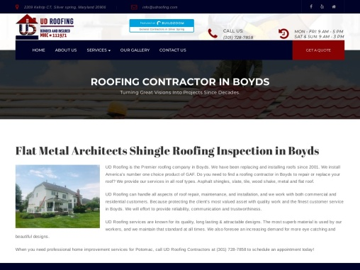 Flat Metal Architects Shingle Roofing Inspection in Boyds