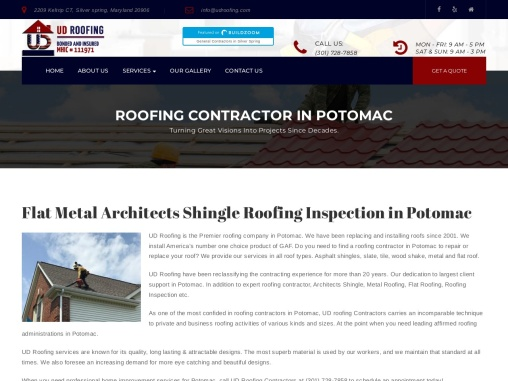 Flat Metal Architects Shingle Roofing Inspection in Potomac