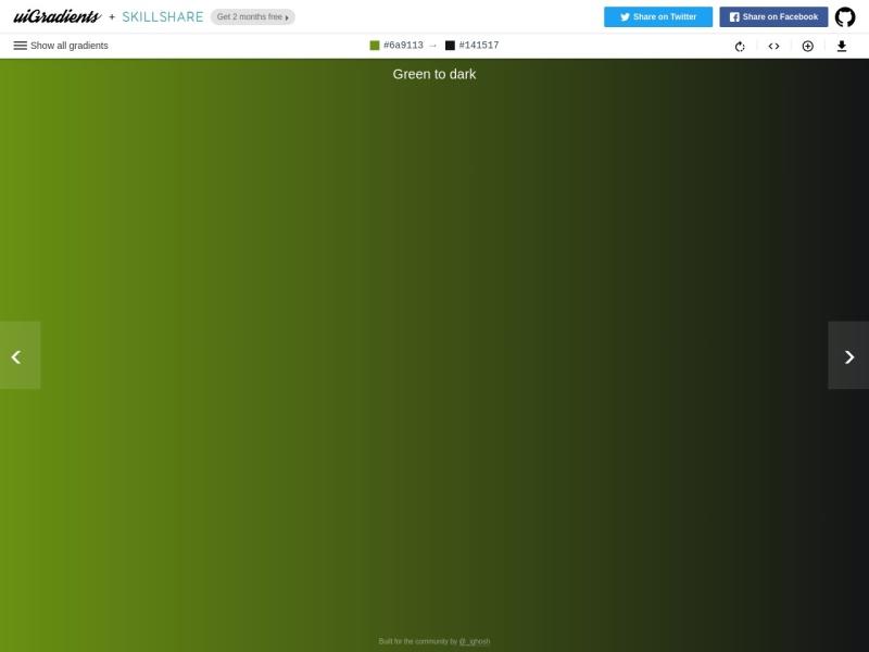 uiGradients | おしゃれなCSSのグラデーションのジェネレータ