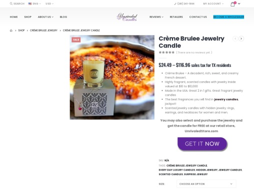 Creme brulee candles | Jewelry In Candles Rings