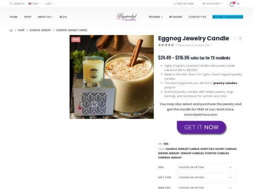 Eggnog candle | Jewelry In Candles Rings