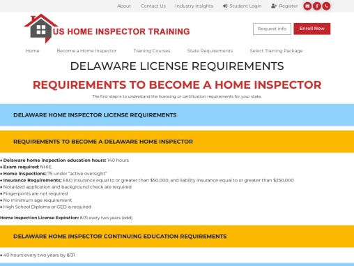DELAWARE LICENSE REQUIREMENTS – US Home Inspector Training