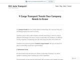 9 Cargo Transport Trends Your Company Needs toKnow