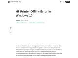 How to fix HP Printer Offline Error in Windows 10