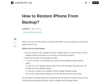 How to Restore iPhone From Backup?