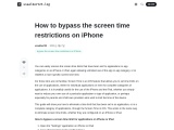 How to bypass the screen time restrictions on iPhone