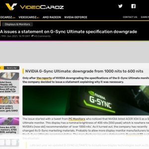 NVIDIA issues a statement on G-Sync Ultimate specification downgrade - VideoCardz.com