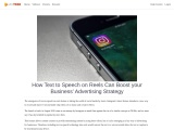 How Text to Speech on Reels Can Boost your Business' Advertising Strategy