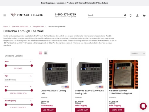 CellarPro Through the Wall Cooling Units