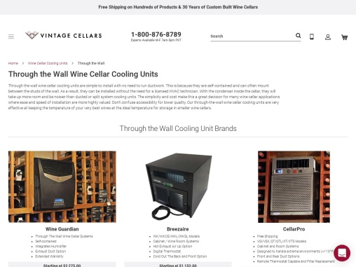 Through the Wall Wine Cellar Cooling Units