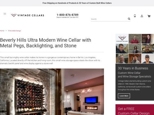 Custom Wine Wall Cellars Bel Air, Los Angeles