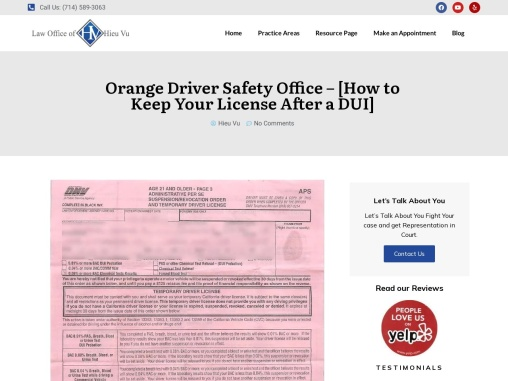 Orange Driver Safety Office – [How to Keep Your License After a DUI]