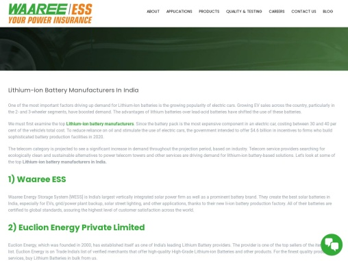 Lithium-ion Battery Manufacturers in India