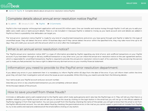 Paypal annual error resolution notice