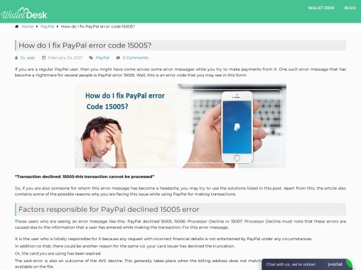 How to fix PayPal error code 15005?