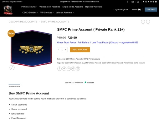 Buy CSGO SMFC Account   Instant Delivery