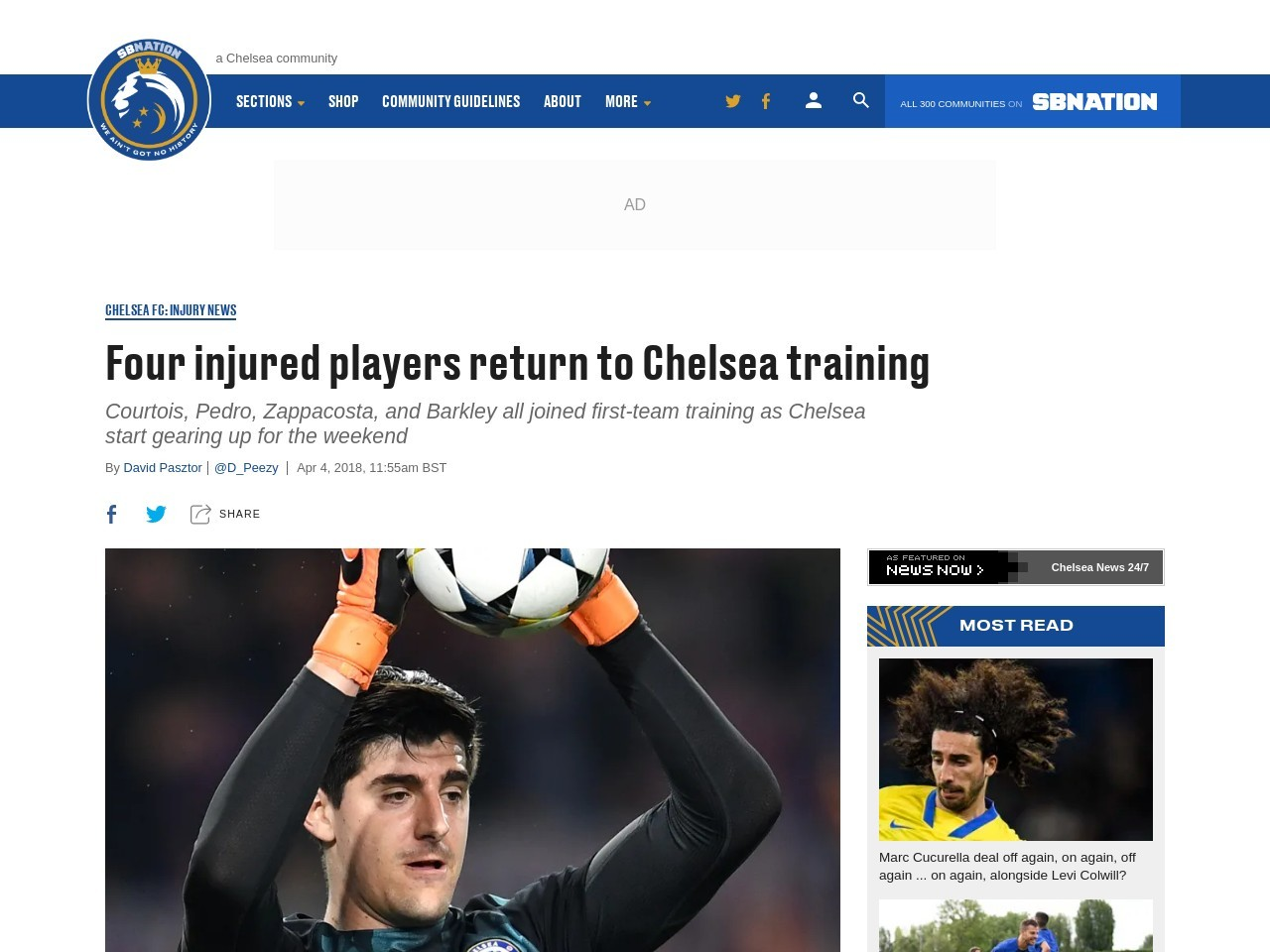Four injured players return to Chelsea training