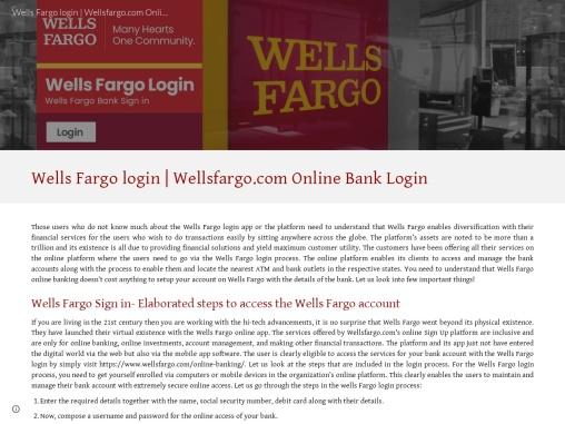 Wells Fargo Login | Wellsfargo login | Wellsfargo.com