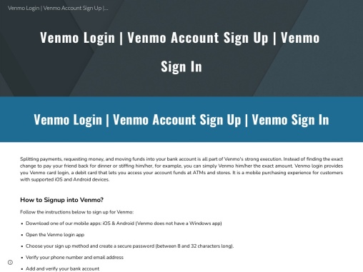 How to sign up or login for Venmo?