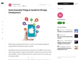 Some Essential Things to Avoid For IOS App Development