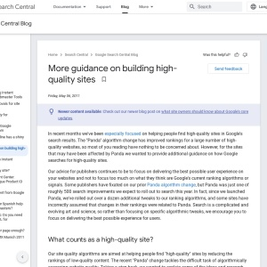 Official Google Webmaster Central Blog: More guidance on building high-quality sites