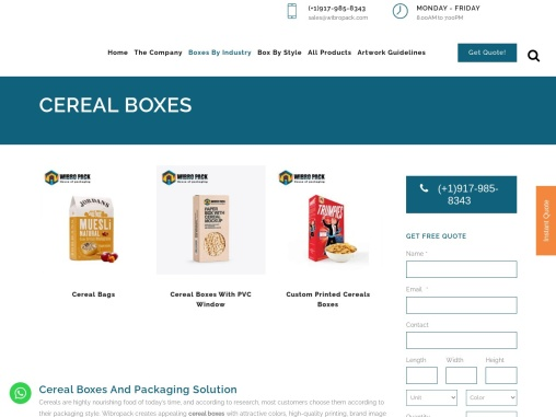 Custom Cereal Boxes – Wholesale Cereal Packaging