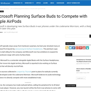 Microsoft Planning Surface Buds to Compete with Apple AirPods - WinBuzzer