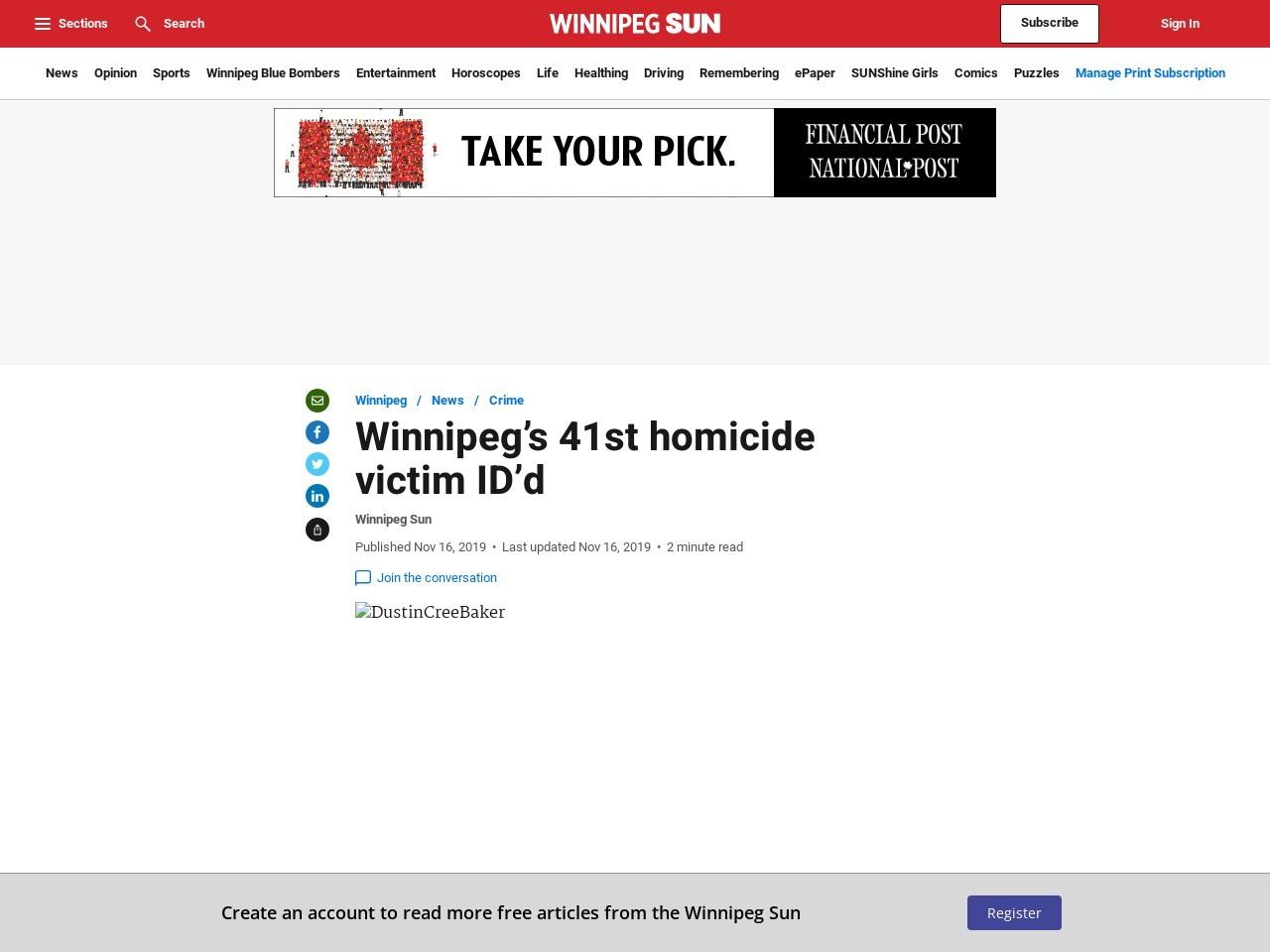 Winnipeg's 41st homicide victim ID'd