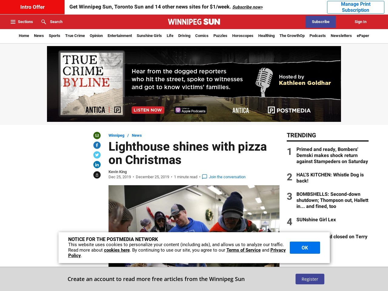 Lighthouse shines with pizza on Christmas
