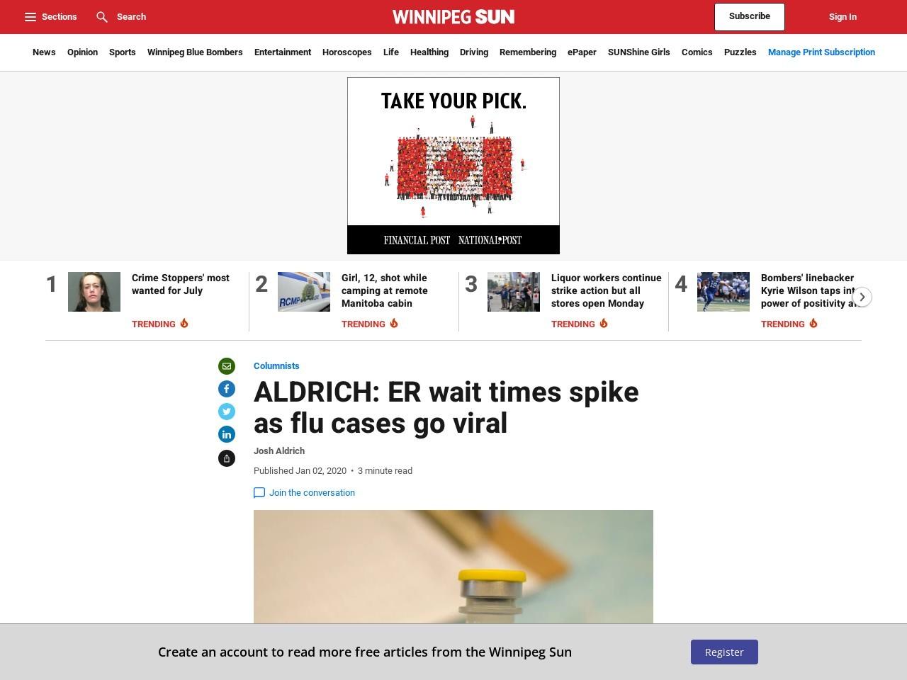 ALDRICH: ER wait times spike as flu cases go viral