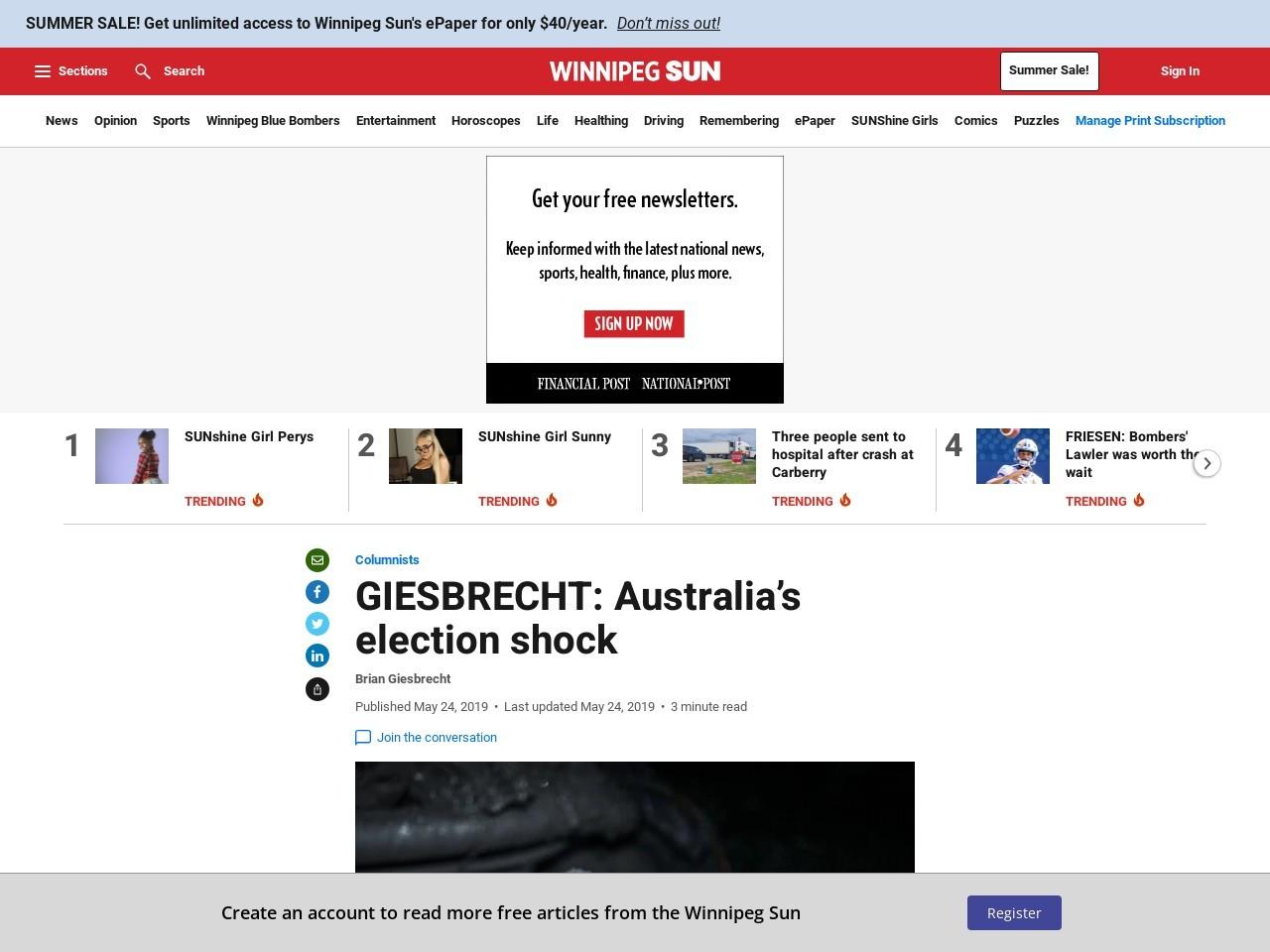 GIESBRECHT: Australia's election shock