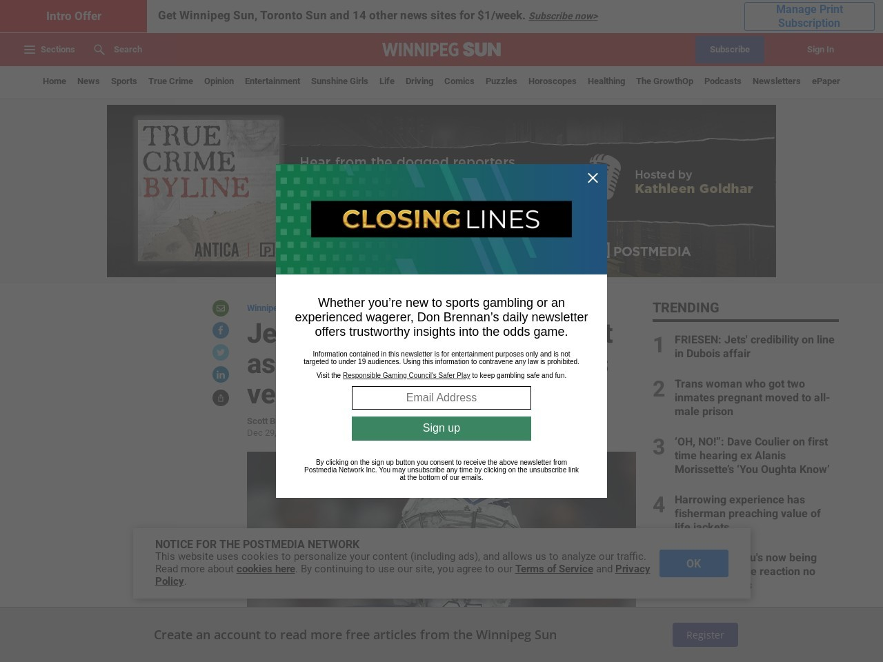 Jets' Hellebuyck as confident as ever despite wobbly goals versus Blues