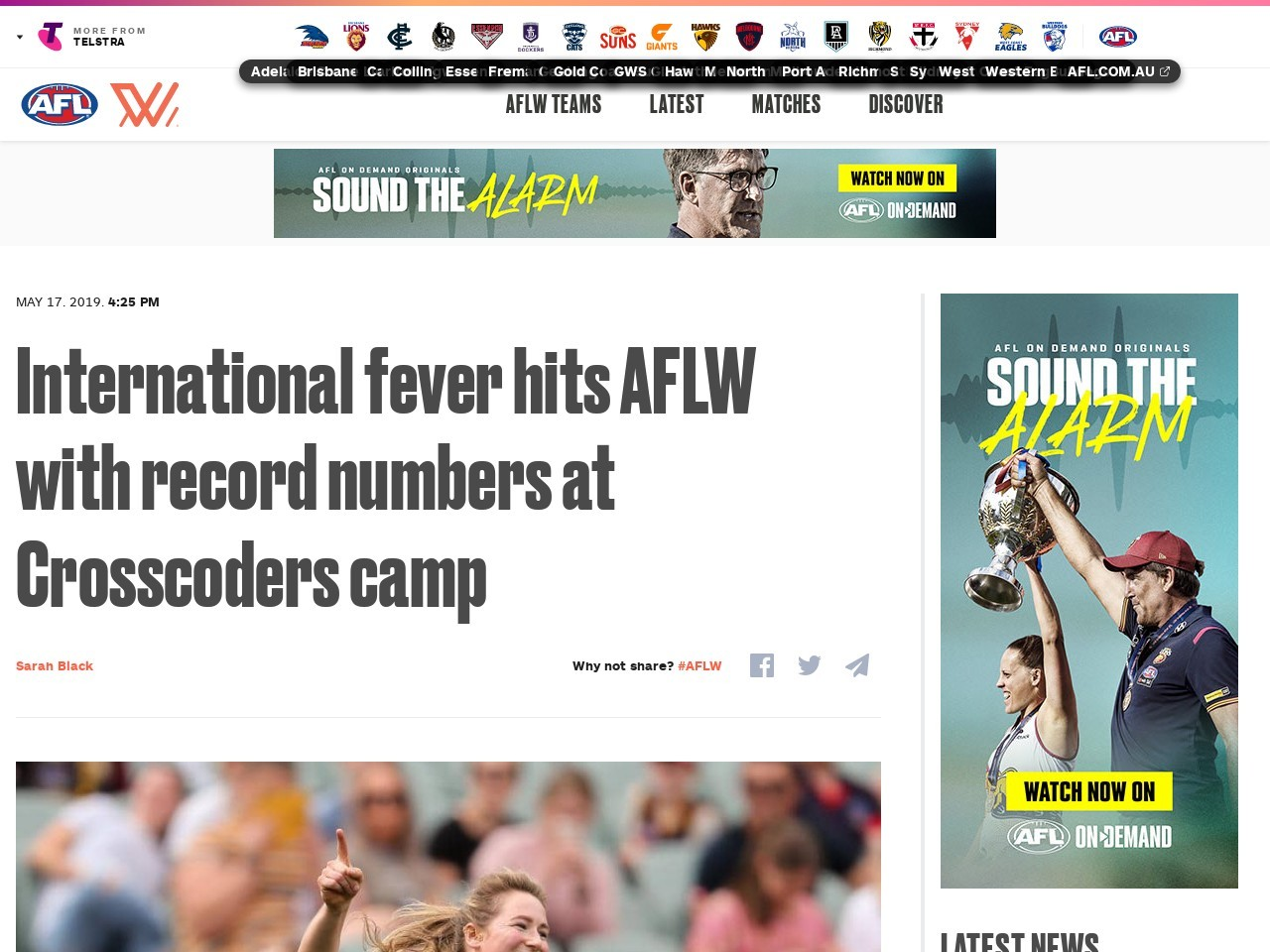 International fever hits AFLW with record numbers at Crosscoders camp