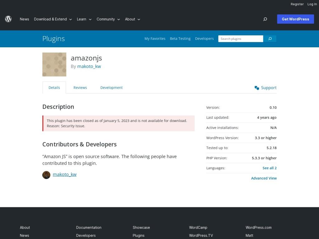 Amazon JS | WordPress.org