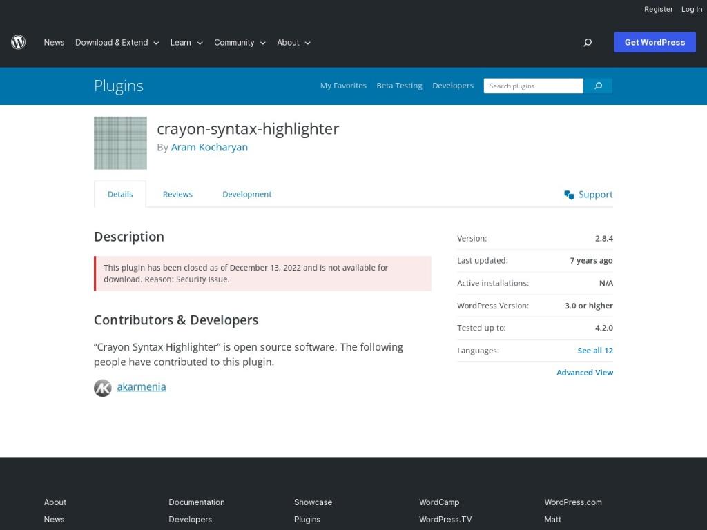 Crayon Syntax Highlighter | WordPress.org
