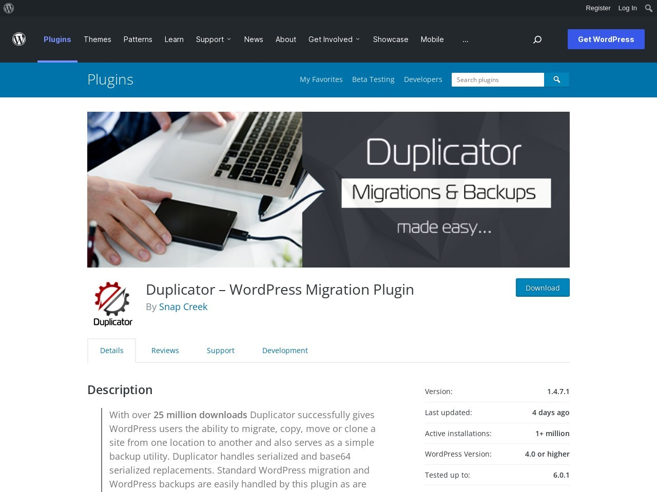 Duplicator - Duplicate, clone, backup, move and transfer an entire site from one location to another.
