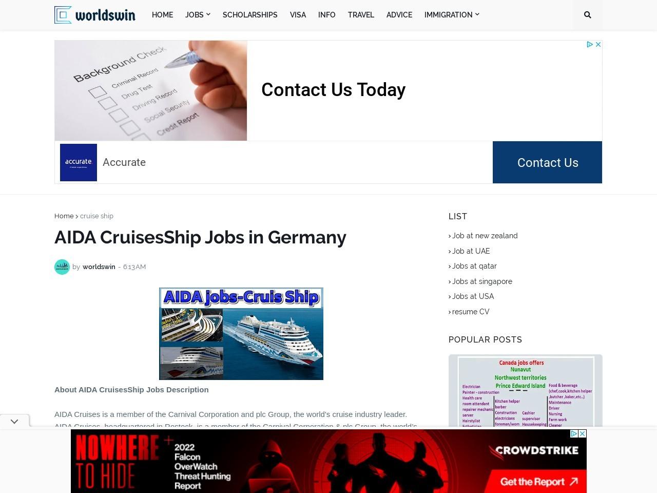 AIDA CruisesShip Jobs in Germany