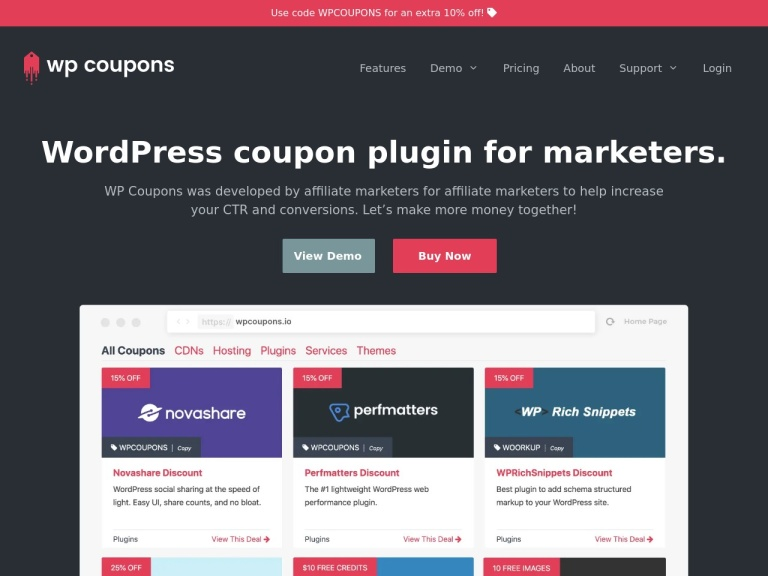 WPcoupons screenshot