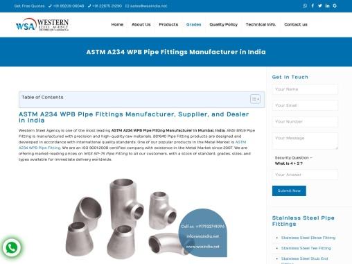 ASTM A234 WPB Pipe Fittings – Western Steel agency