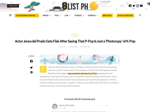 Actor Janus del Prado Gets Flak After Saying That P-Pop Is Just a 'Photocopy' of K-Pop