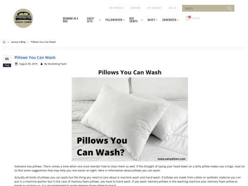 Pillows you can wash, Pillows you can wash
