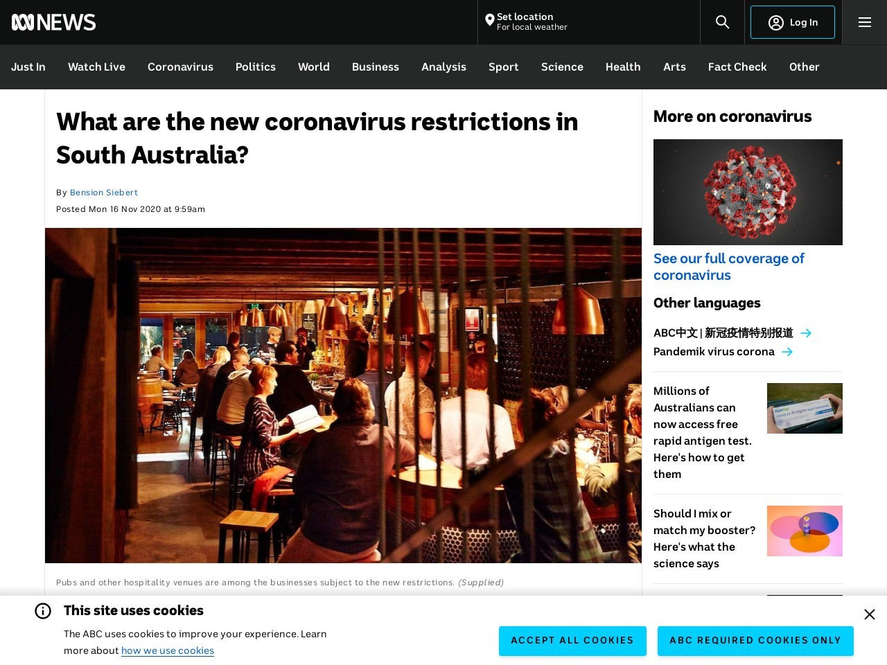 What are the new coronavirus restrictions in South Australia?