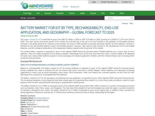 Battery Market for IoT by Type, Rechargeability, End-use Application – Global Forecast to 2025